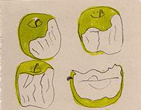 (manzana) comiendo, proceso