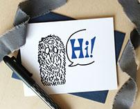 Hi! Monstrous Salutations Hand Drawn Card