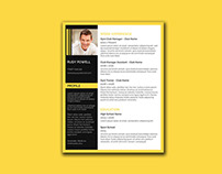 Free Stylish Resume Template with Black-Yellow Color