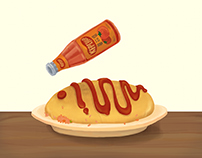 2D Animation - Japanese rolled omelet