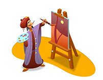 Isometrical arabic middle age artist with easel