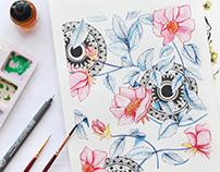 Textile Floral pattern : set #1