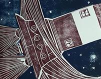SPACELIGHTHOUSE (Linocut)