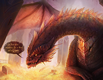 Smaug talking to Bilbo [fanart]