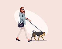 Walking the dog Illustration