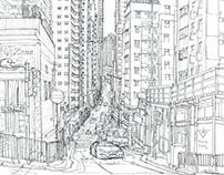 Hong Kong. Urban sketch