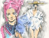 Paris fashion week sketches