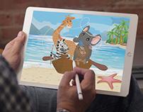 Lion, Zebra, Elephant and Giraffe Digital Art