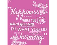 Typographic Quote - Happiness & Harmony