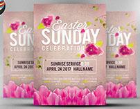 Easter Sunday Celebration Service Flyer Template