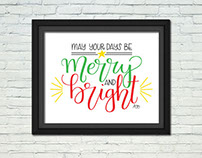 Merry & Bright Lettering Poster