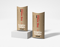 Free Kraft Paper Pillow Box Mockup