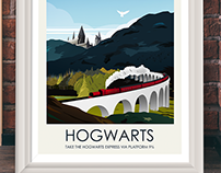 Movie Inspired Travel Poster Series (Hogwarts)