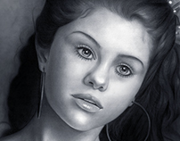 Selena Gomez. Pencil on paper.