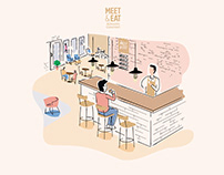 Meet & eat - Illustrations