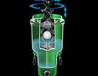 Golf ball washer, cutaway technical illustration