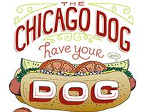 Chicago Dog lettering illustration print