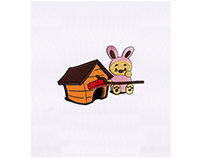 RABBIT COSPLAYING TEDDY BEAR APPLIQUE EMBROIDERY DESIGN