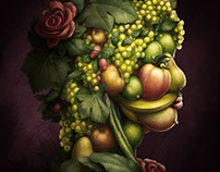 Arcimboldo style illustration for wine label