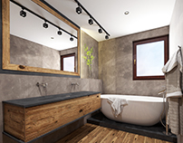 #bathroom #wood #microcret #sand-grey
