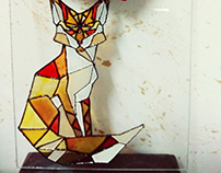 Abstract fox drawing on glass