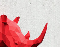 Papercraft rhino head