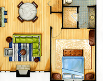 Marker and Colored Pencil Drawing: Apartment Floor Plan