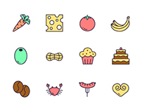 "The icon set ""100 scents of food"""