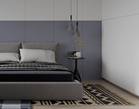 Light-colored one-room apartment with dark blue shades