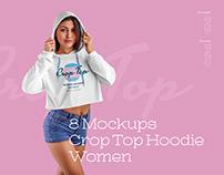 8 MockUps Women Crop Top Hoodie (1 free)