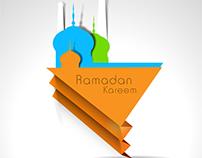 Vector paper cutting mosque Ramadan card