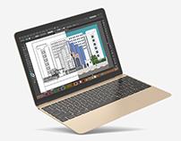 Vector-graphic multi detailed architecture illustration