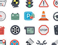 Flat cars theme icons