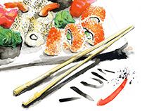 Sushi Advertising Illustration