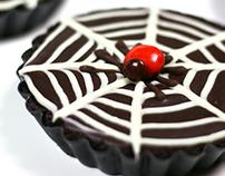 Chocolate Ganache Spiderweb Tarts