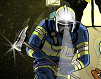 Illustration of a fire brigade