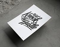 """Can't Knock The Hustle"" letterpress poster"