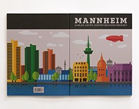 Infographic book about the city of Mannheim.