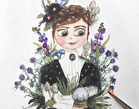 Custom watercolor portrait with plants and mushrooms