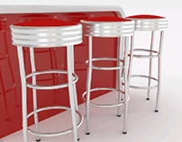 rounded counter with barstools