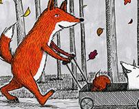 Fox Family Enjoying the Fall Leaves