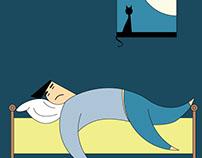 Ilustración ¿dormimos bien?, para suplemento Semana