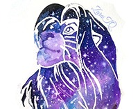 Lion King Galaxy Painting