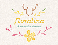 Floralina | 15 watercolor elements