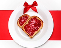 Toast with jam.Food typography.Valentine day concept