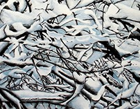 SNOWY BRANCHES Nature Rhythms Charcoal Drawing