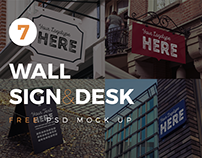 7 Wall Sign&Desk FREE PSD Mock Up