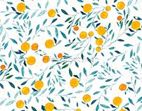 Watercolor Oranges / Pattern deisgn