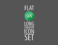 Stylized Flat 98 Long Shadow Icon Set