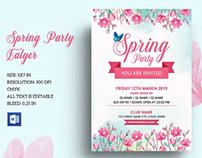 Spring Party Invitation Flyer